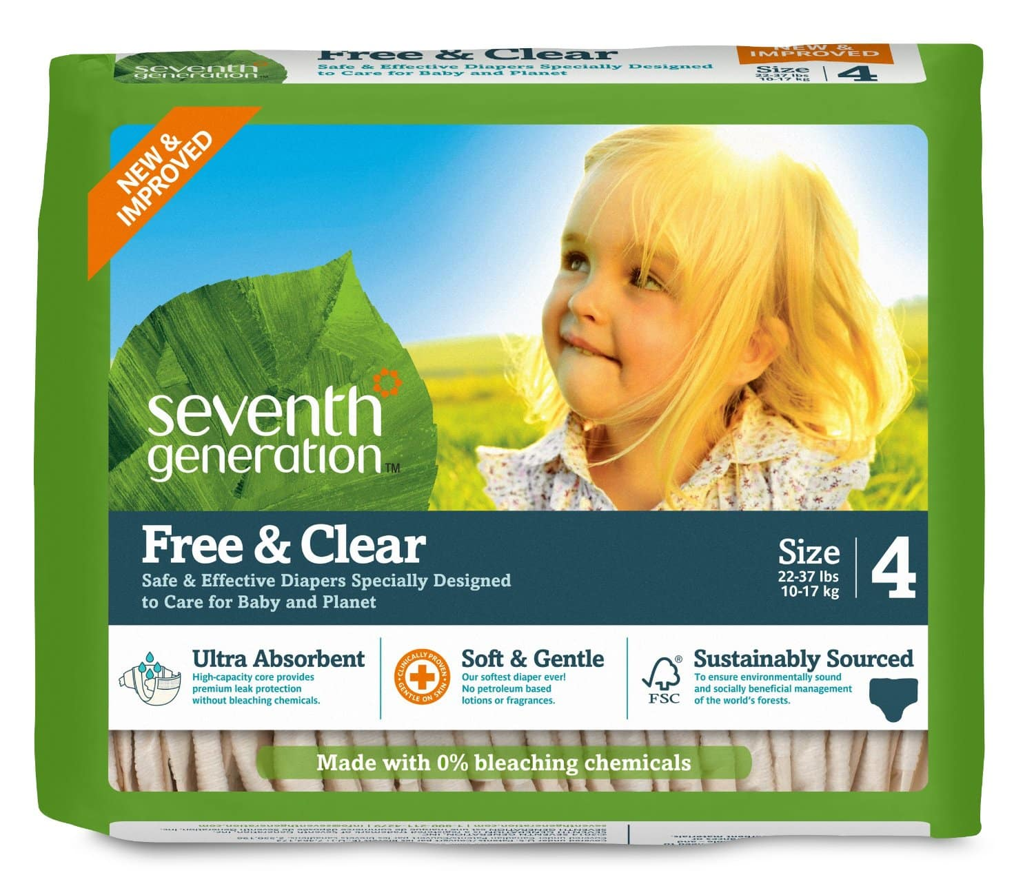 Amazon Family Members: 135-Ct Seventh Gen. Diapers (Size 4)  $14.40 & More + Free S&H