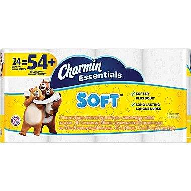 Charmin® Essentials Soft Toilet Paper 24 Giant Rolls = 54 Reg Rolls $7.99 free store pick up STAPLES (or Two for $16 ship w/Staples Rwds)