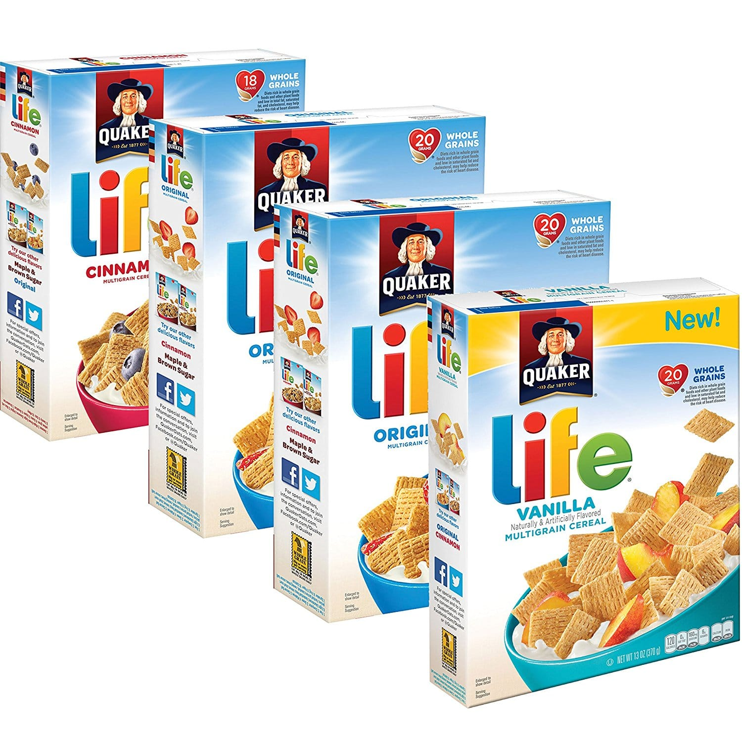 4-Count of 13oz Quaker Life Breakfast Cereal (Variety Pack) $5.83 or Less w/ S&S + Free Shipping ~ Amazon