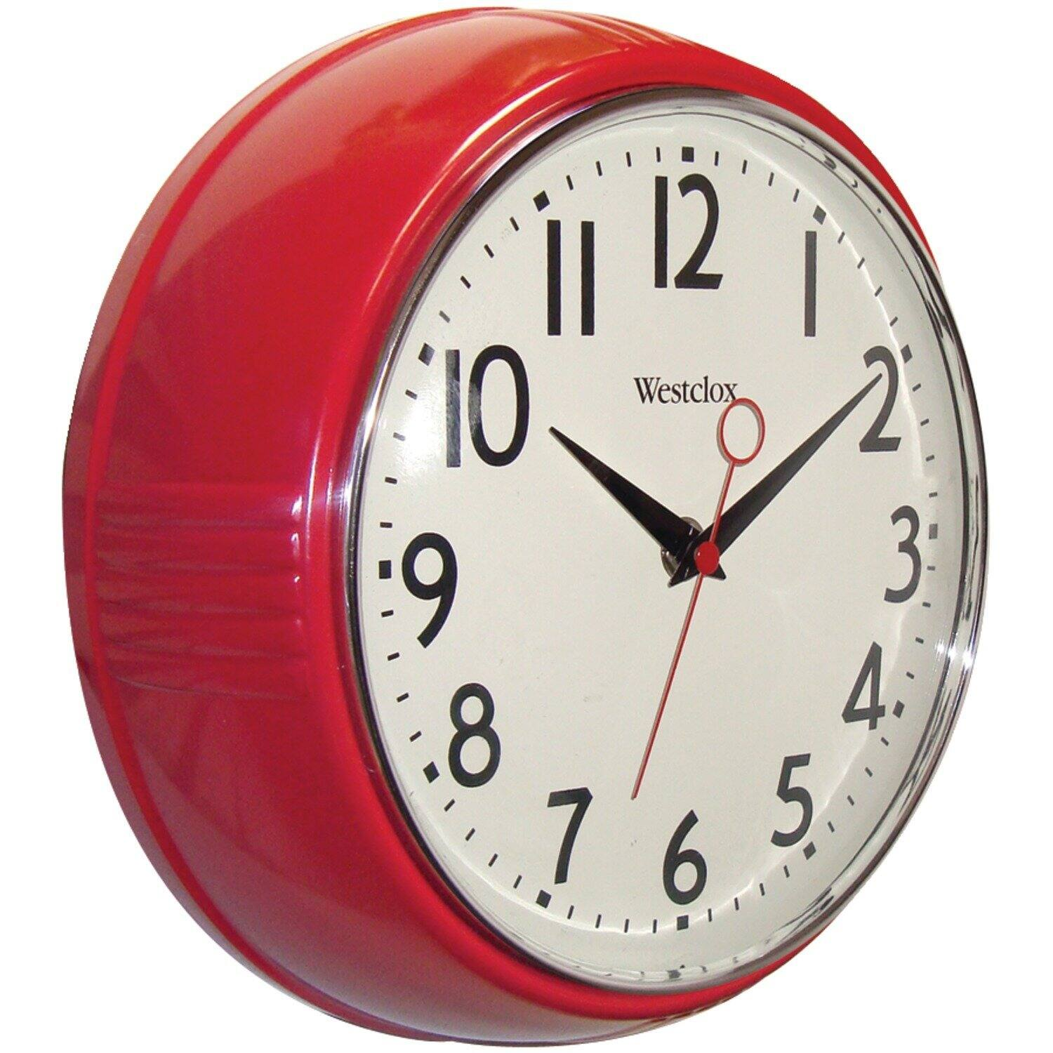 """9.5"""" Westclox Retro 1950s Kitchen Wall Clock (Red) $7.71 + Free S&H w/ Prime or orders $25+"""