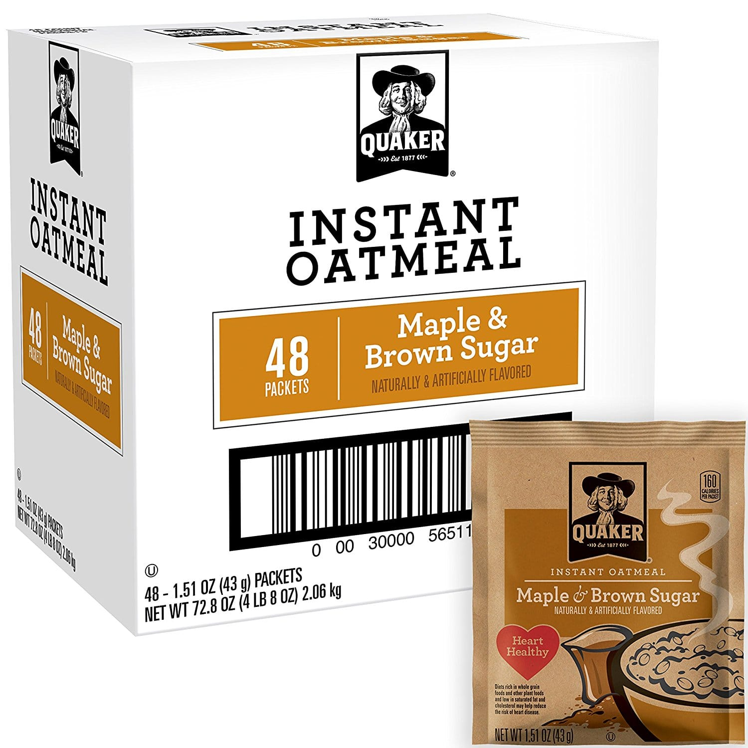 48-Ct Quaker Instant Oatmeal (Maple Brown Sugar ... Quaker Instant Oatmeal Maple And Brown Sugar