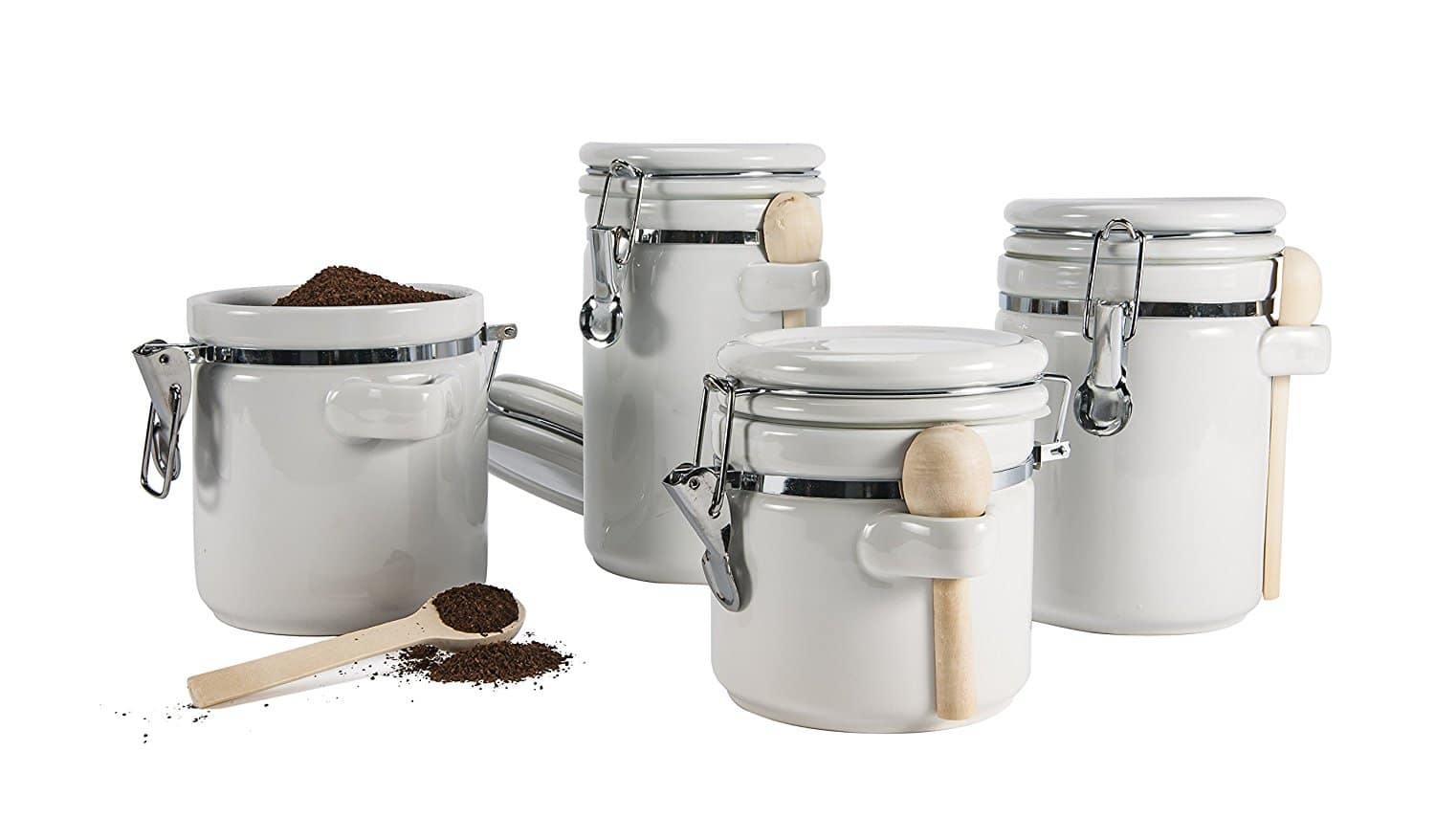 4-Pc Anchor Hocking Ceramic Canister Set w/ Clamp Top Lid & Wooden Spoon (White)  $11.25 + Free Store Pickup