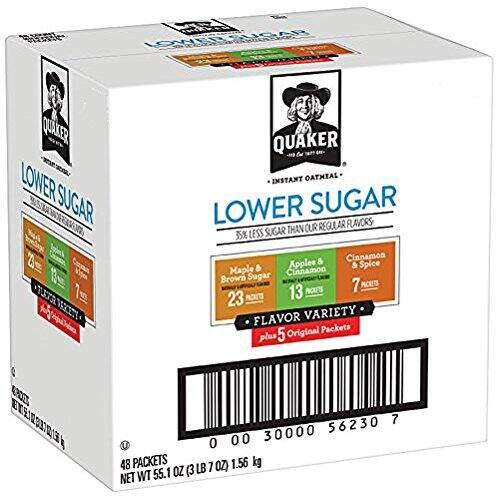48-Count Quaker Instant Oatmeal Variety Pack (Lower Sugar) $8.07 or Less w/ S&S & More + Free Shipping ~ Amazon