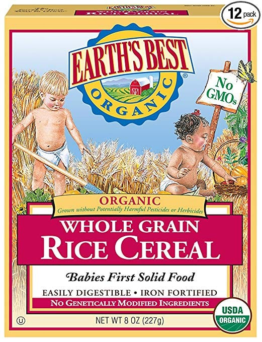 12 Pack Of 8oz Earths Best Organic Infant Cereal Whole Grain Rice 799