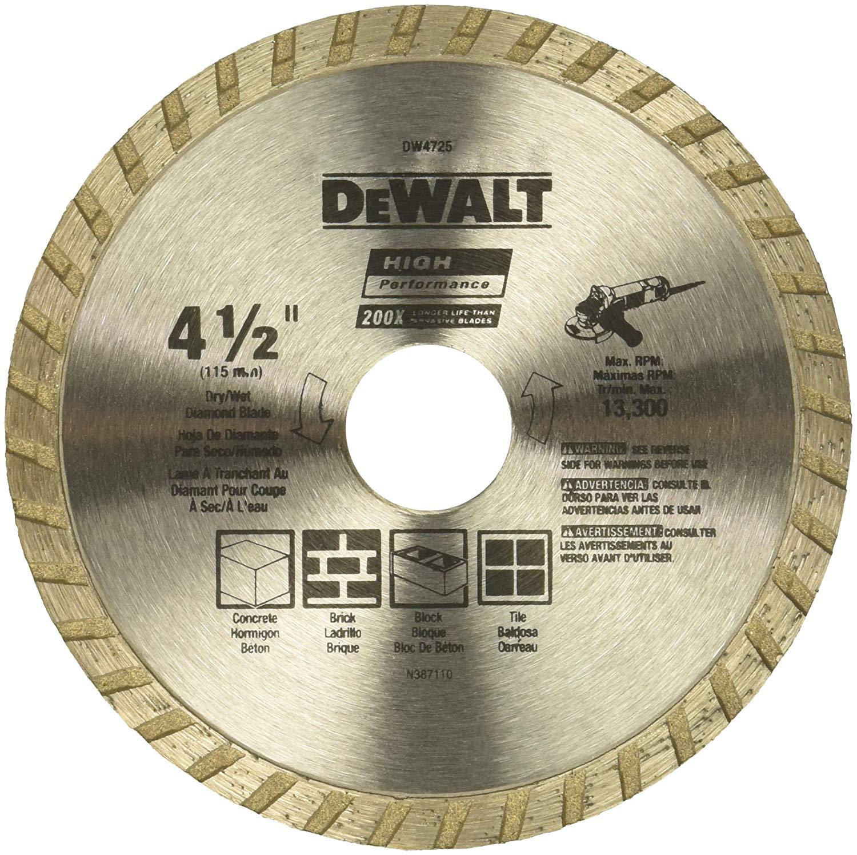 """DeWALT DW4725 High Performance 4-1/2"""" Dry Cutting Diamond Masonry Saw Blade $4.99 + Free Shipping ~ Amazon"""