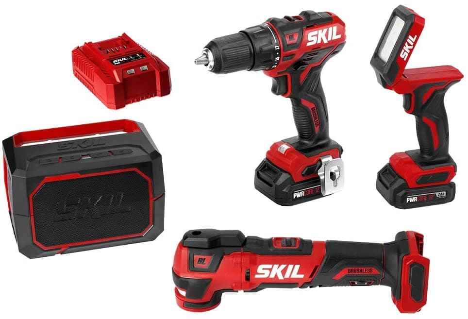 "SKIL PWRCore 12V 4-Tool Brushless Combo Kit: 1/2"" Drill Driver, Oscillating Multitool, Area Light, Bluetooth Speaker, 2x 2.0Ah Batteries & Charger $107.90 + Free S&H ~Amazon"