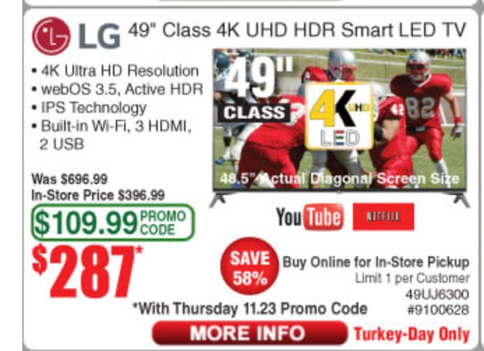 "LG 49"" Class UJ6300 Series 4K HDR Smart LED TV (better than bestbuy) $287"