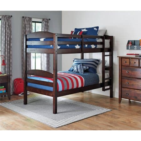 New Better Homes and Gardens Leighton Twin Over Twin Wood Bunk Bed with BONUS Mattresses FS