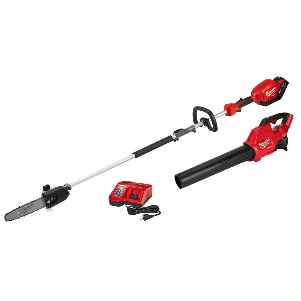 Milwaukee M18 FUEL 18-Volt Lithium-Ion Brushless Cordless 10 in. Pole Saw and Blower Combo Kit w/ Charger with 9.0 Ah Battery (2-Tool) $399