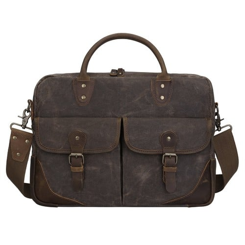 Vintage Canvas Leather Messenger Bag Briefcase 15.6-inch Laptop Tote Shoulder Bag $19.99@amazon