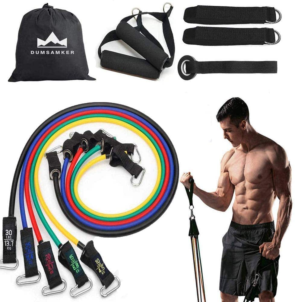 Resistance bands set with accessories with 50% coupon $7 + Free S/H with Prime or on 25+