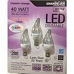 Feit LED 4.9 Watt LED Candelabra Light Bulbs 3-Pack (Equiv to 40 watts) 2700K Color - $8.99 (instant rebate) at Costco B&M (YMMV based on electric subsidies)