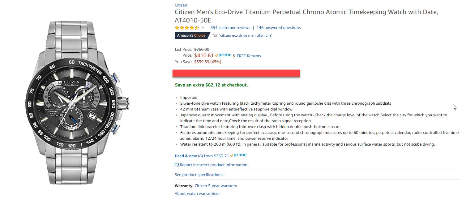 460ed45a06e Citizen Eco-Drive Men s AT4010-50E Titanium Perpetual Chrono A-T Watch   328.49 + Tax (YMMV)  351.48