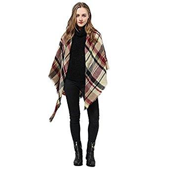 Women's Plaid Blanket Winter Scarf/Shawl - [F/S Amazon Prime] $8.79
