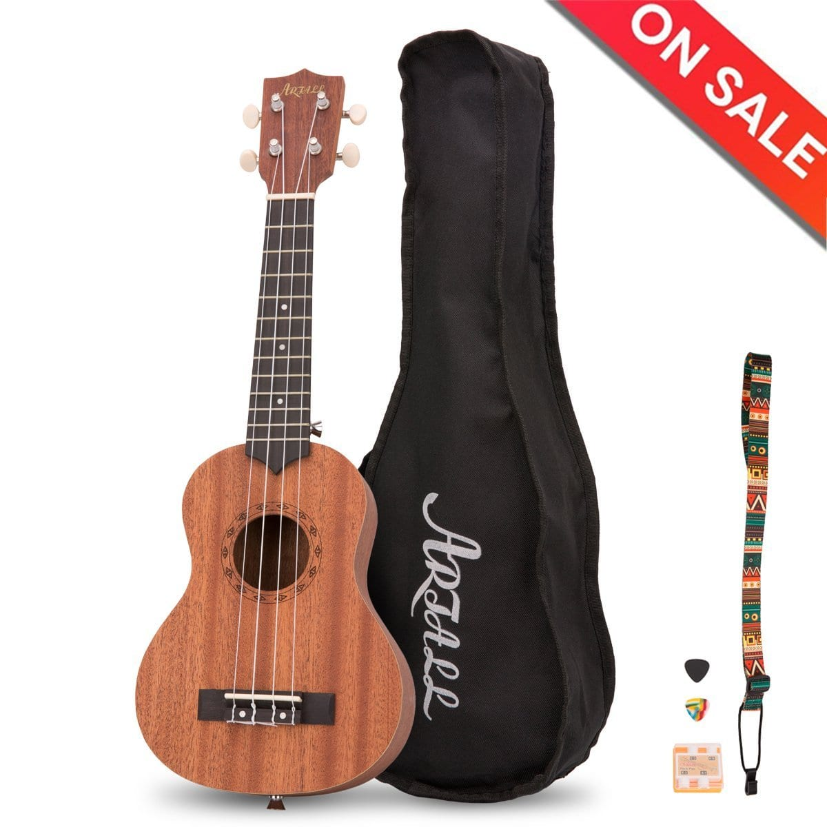 Artall 21 Inch Handcrafted Solid Wood Soprano Ukulele & accessories $23.99 + Free Prime Shipping