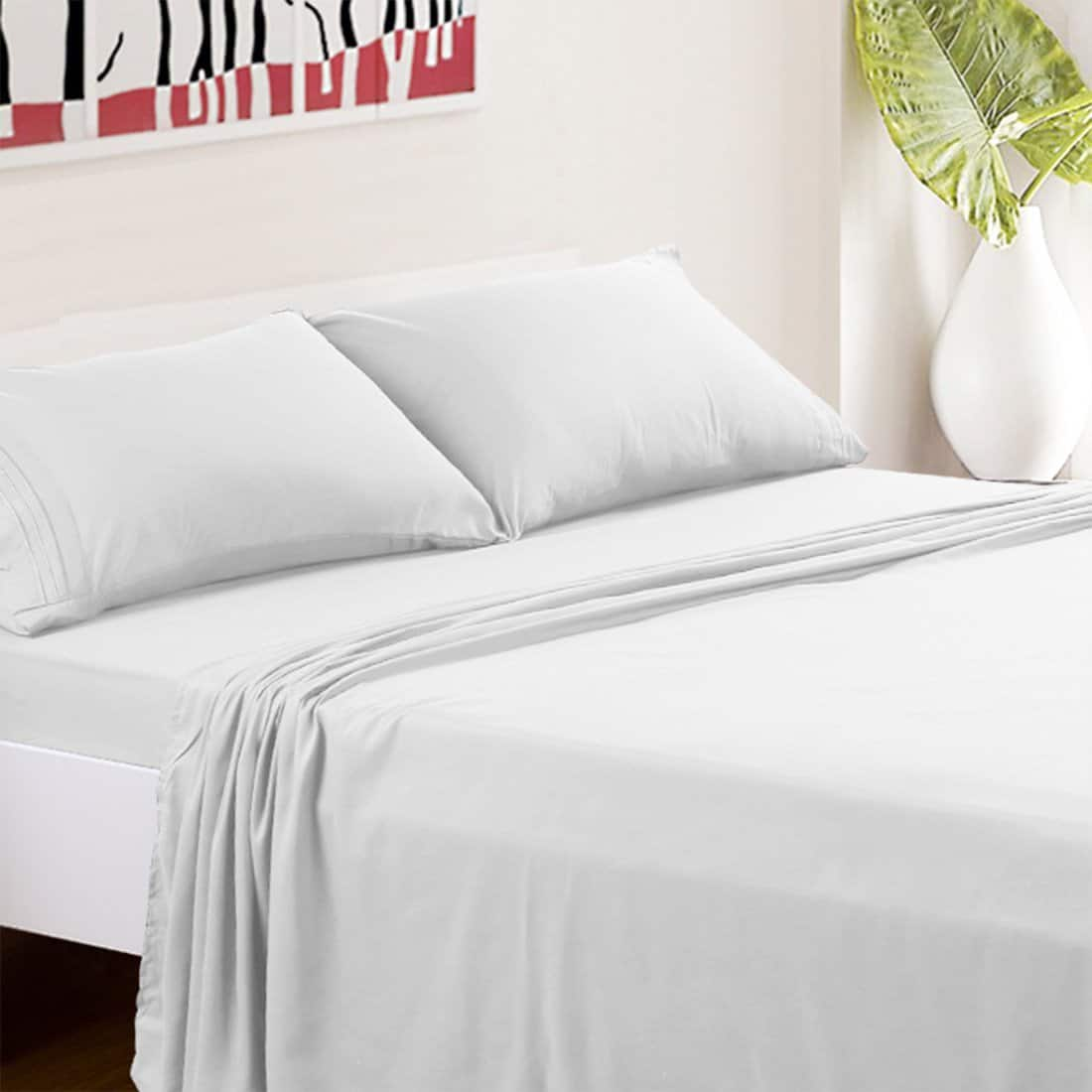 TasteLife 4-piece White Queen Size Hypoallergenic Bed Sheets $11.9 (Free Prime Shipping)