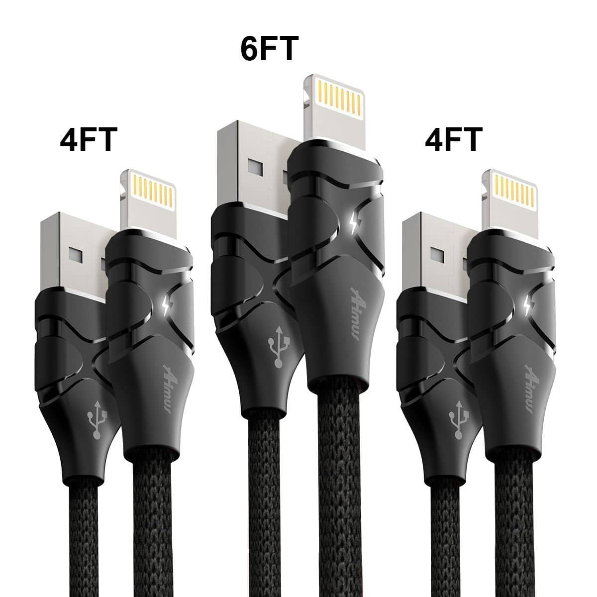 Aimus Lightning Cable [3-Pack] Cotton Braided (Free Prime Shipping) $7.79