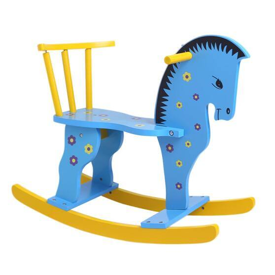 Wooden Rocking Horse - Blue or White (Free Prime Shipping) $39.59
