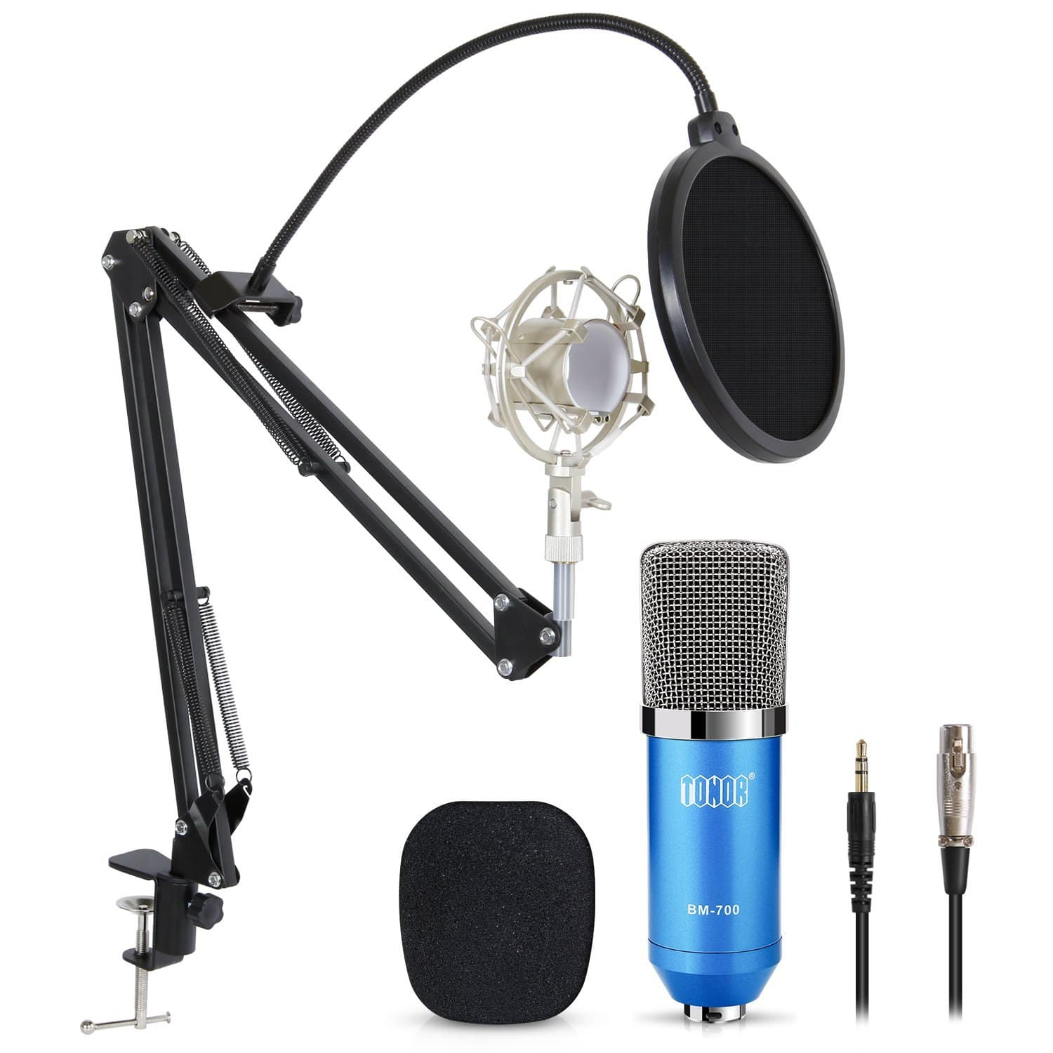 Pro Condenser PC Microphone Kit w/ 3.5mm XLR Mic + Filter & Scissor Arm (Free Prime Shipping) $25.59
