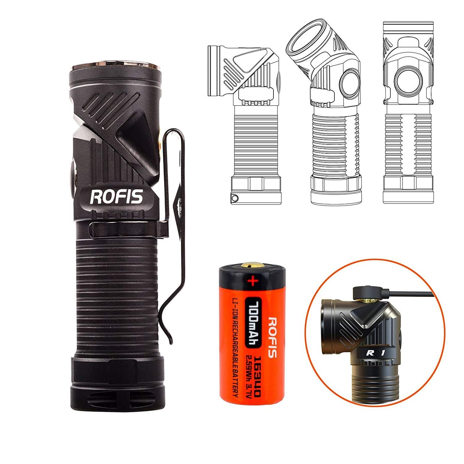 Rofis R1 CREE LED 900 Lumens LED Flashlight - USB Rechargeable Adjustable-head Ultra Compact Lightweight EDC (Free Prime Shipping) $45.5
