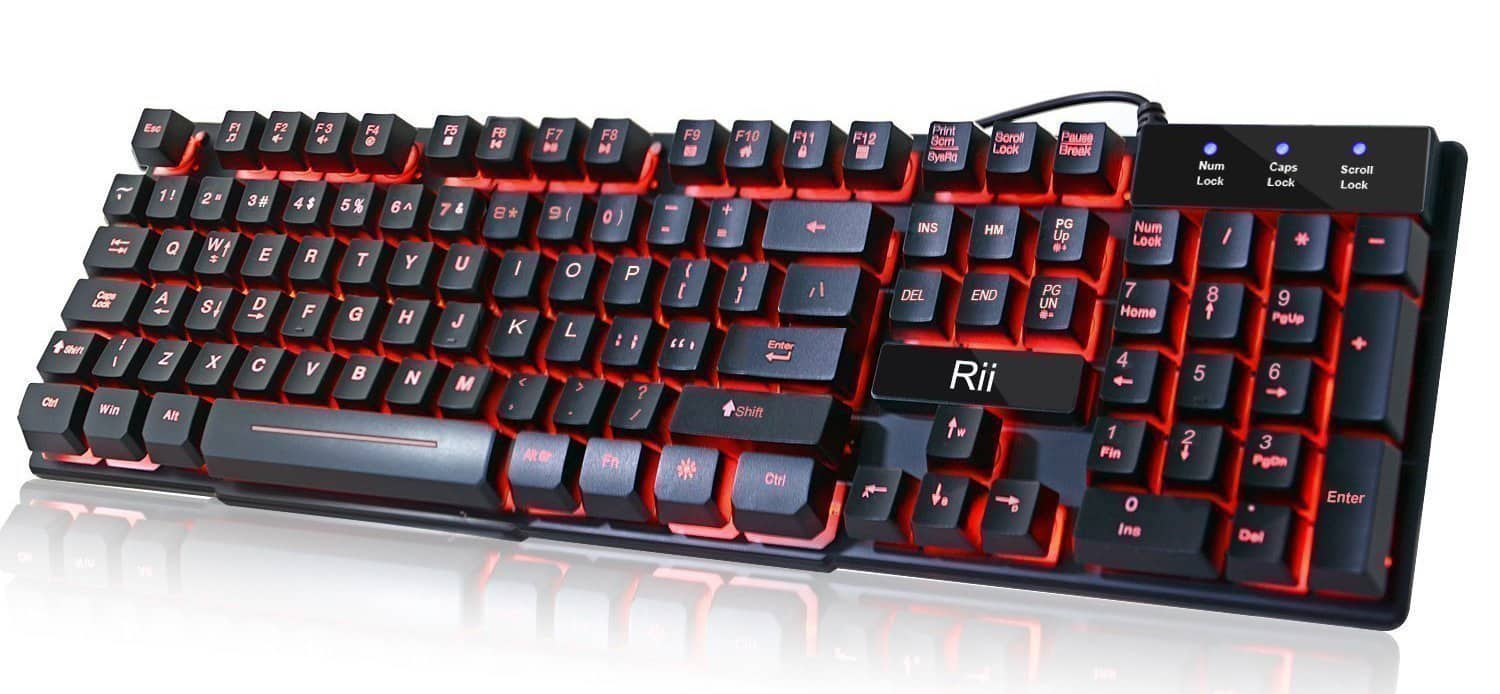 Rii RK100 3 Color LED Backlit Mechanical Feel USB Gaming Keyboard (Free Prime Shipping) $11.89