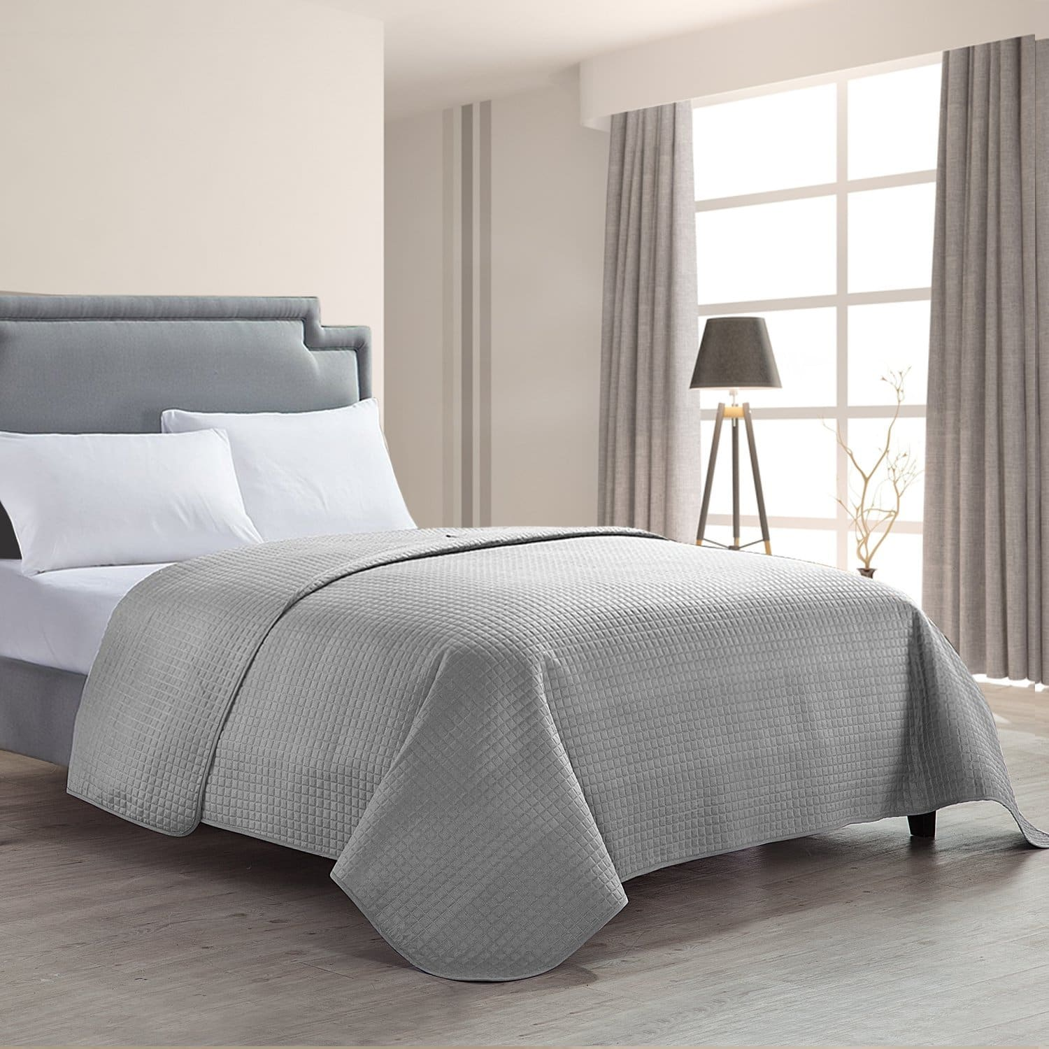 Luxury Checkered Pinsonic Quilted Bed Quilt Bedspread - King Size *50% OFF* (Free Prime Shipping) $13.49