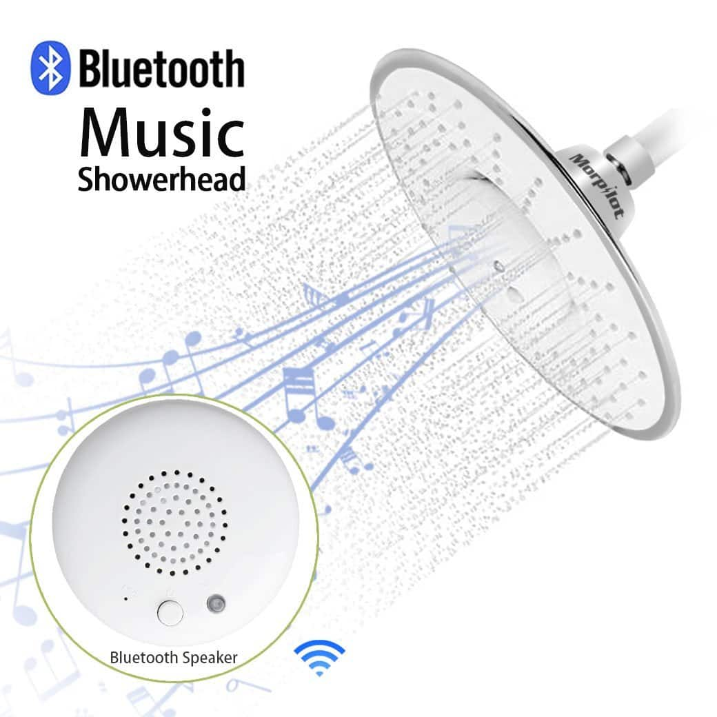 Polished Chrome Rain Shower Head w/ Waterproof Bluetooth Speaker (Free Prime Shipping) $22.09