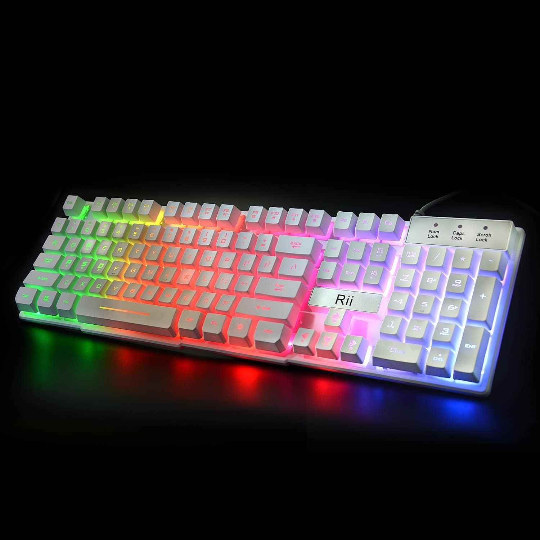 Rii RK100+ Multi Color Rainbow LED Backlit Mechanical Feel Keyboard $13.29