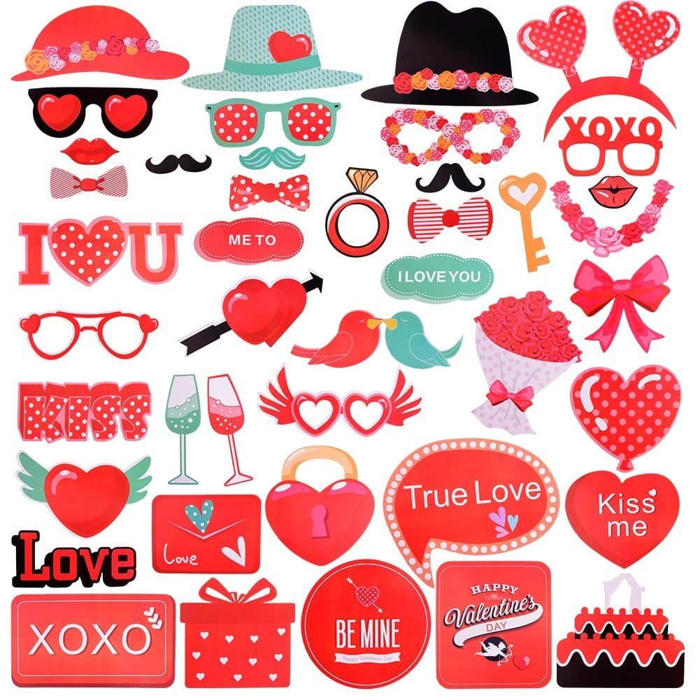 Valentines Day Photo Booth Props Decor (Free Prime Shipping) $6.85