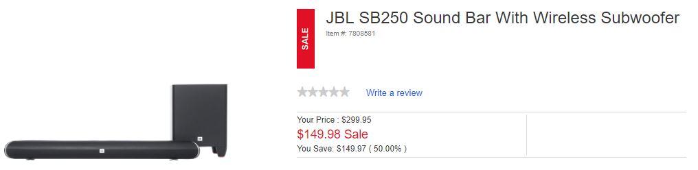 Military Only - JBL SB250 Soundbar + Subwoofer $149.98 Today Only (Shopmyexchange)