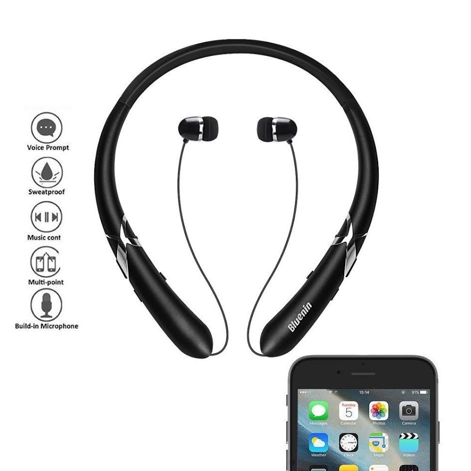 Bluetooth Sport Neckband Headphones w/ Retractable Earbuds $12.99