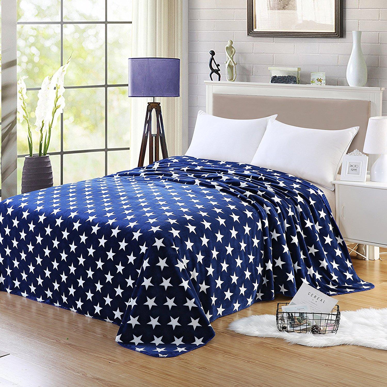 "[Amazon] Super Soft 80x90"" Stars Fleece Throw Blanket (Navy Blue or Dark Grey) - $15.59"