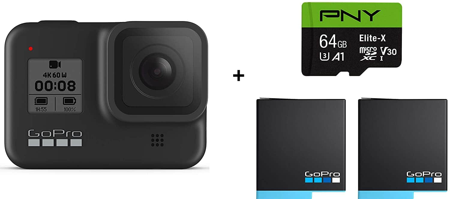 GoPro HERO8 Black Waterproof Action Camera+2 Total GoPro USA Batteries + PNY 64GB U3 microSDHC Card  for $309.99