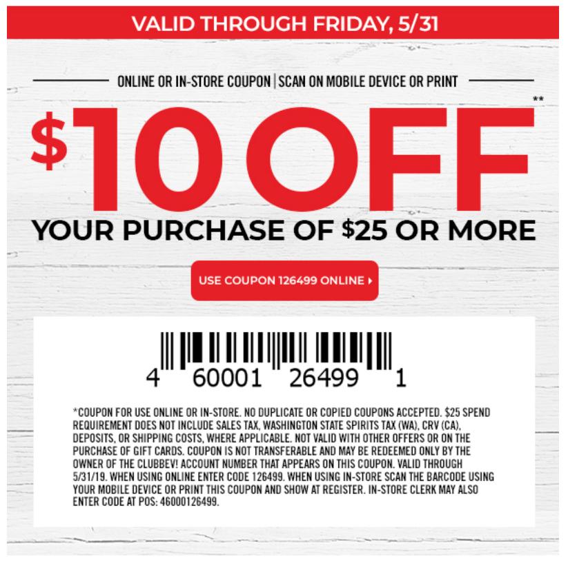 $10 off $25 at Bevmo - B&M only