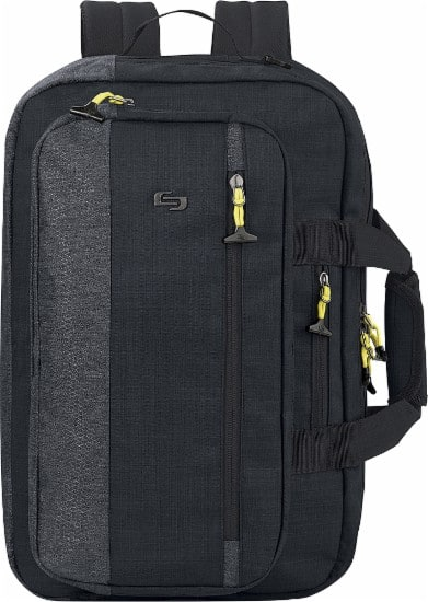 "Solo Velocity Hybrid 15.6"" Laptop Backpack/Briefcase Black/Gray $9.99 BestBuy"