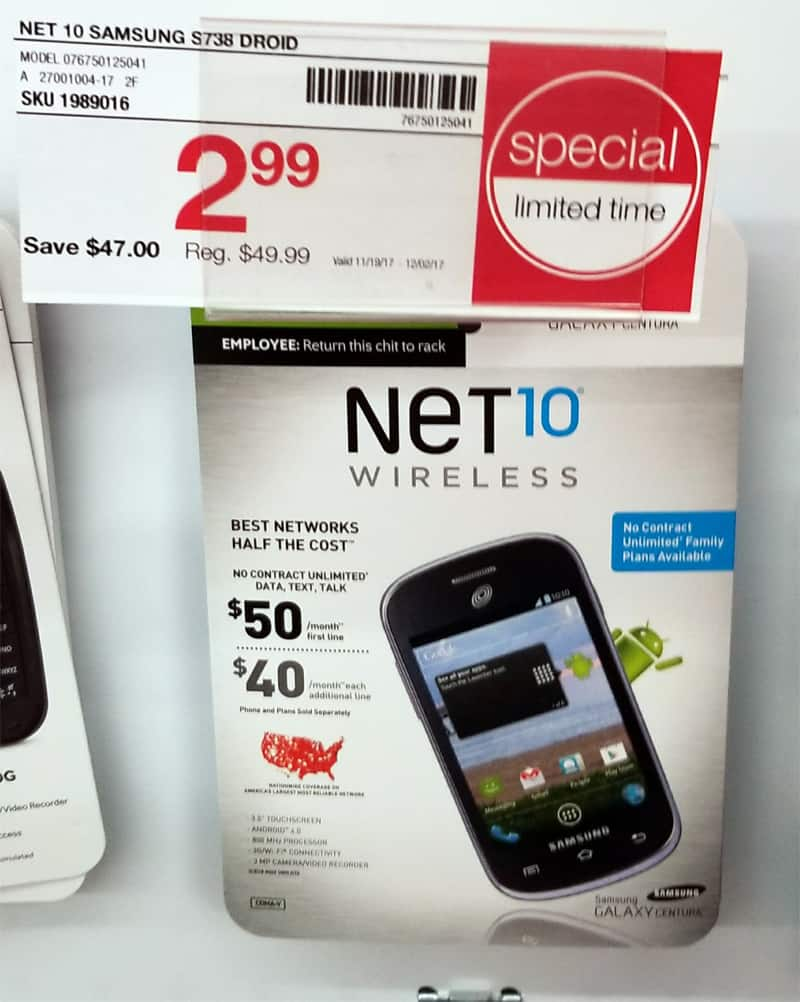 Net 10 Samsung S738 Prepaid Phone $2.99 Staples BM YMMV