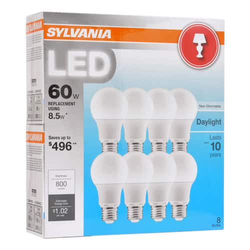 Sylvania 60w Equivalent Led A19 Light Bulb 8 Pk Daylight And Soft White Non Dimmable 7 99 Bj S