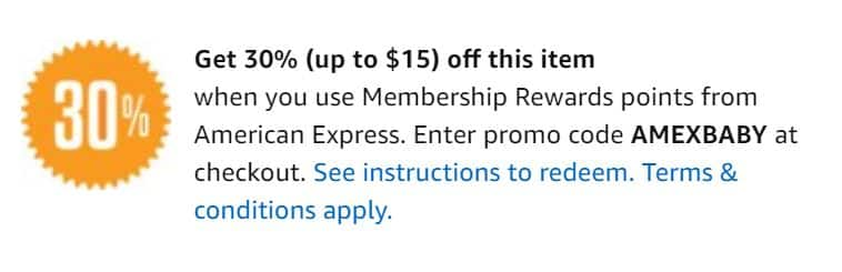 Amex 30% off baby items (up to $15) when using 1 point (check if you are targeted)