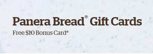 PANERA: Free $10 Bonus Card for every $50 in Panera Bread® Gift Cards purchased