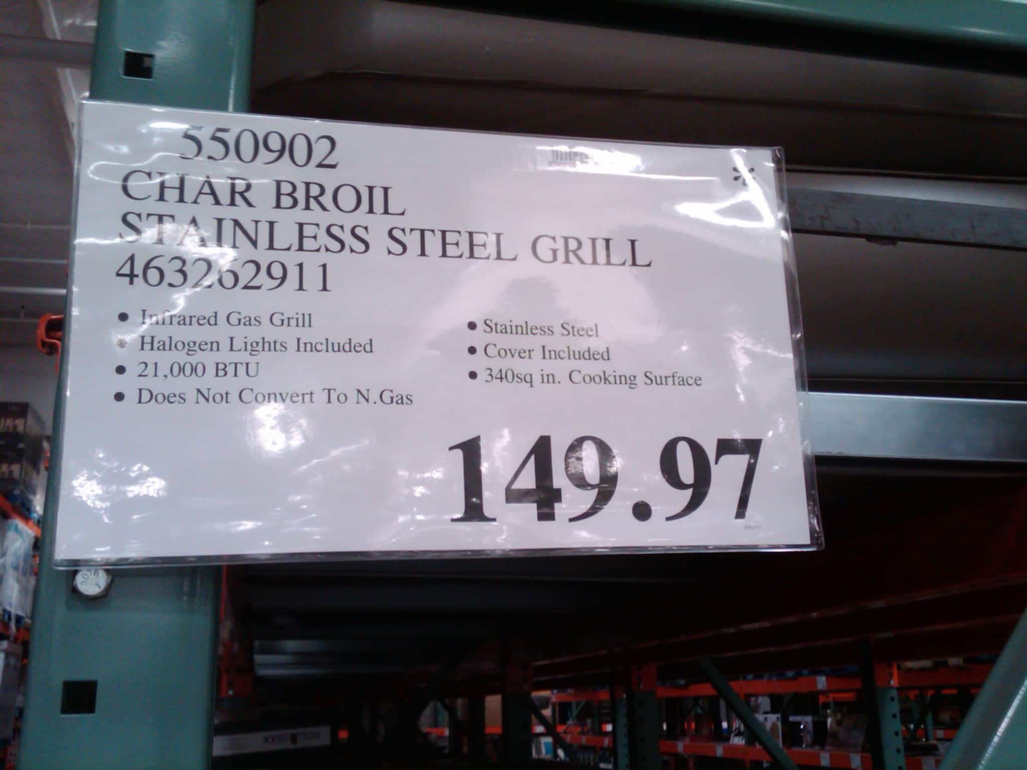 Char Broil Stainless Steel Infrared Gas Grill $149.97 @ Costco YMMV