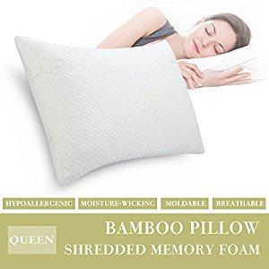 langria medium firm hypoallergenic shredded memory foam pillow shipped w amazon prime. Black Bedroom Furniture Sets. Home Design Ideas