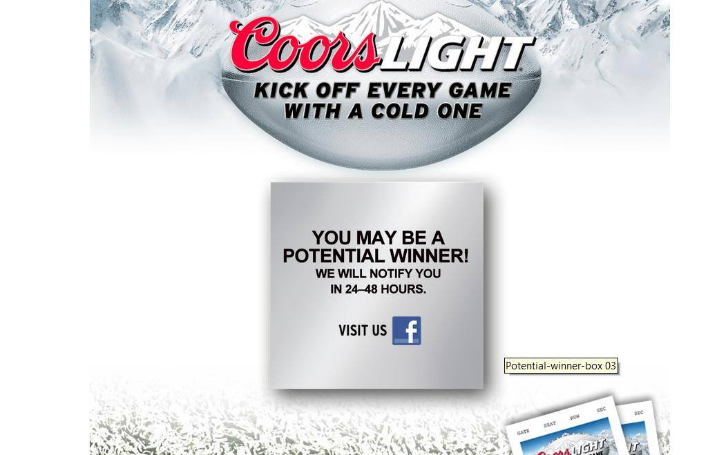 COORS LIGHT® Silver Seats Football 2013 Sweepstakes - 12/31/2013