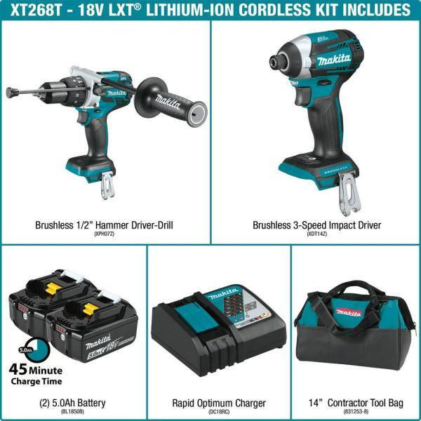 Makita 18-Volt LXT Lithium-ion Brushless Cordless 2-piece Combo Kit (Hammer Drill/ Impact Driver) 5.0Ah $298.98