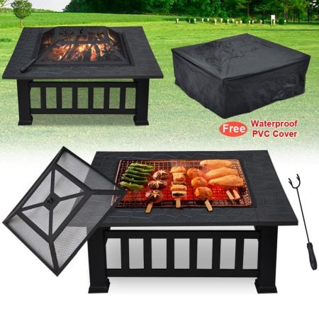 "Yaheetech Metal 32"" Square Stove Fire Pit w/ Protect Cover $89.98 + FS"