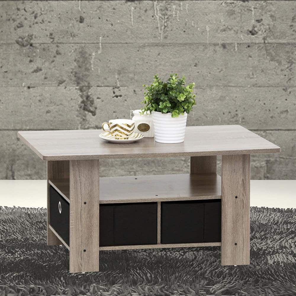Furinno Home Living Espresso and Brown Built-In Storage Coffee Table-11158EX/BR $23.59