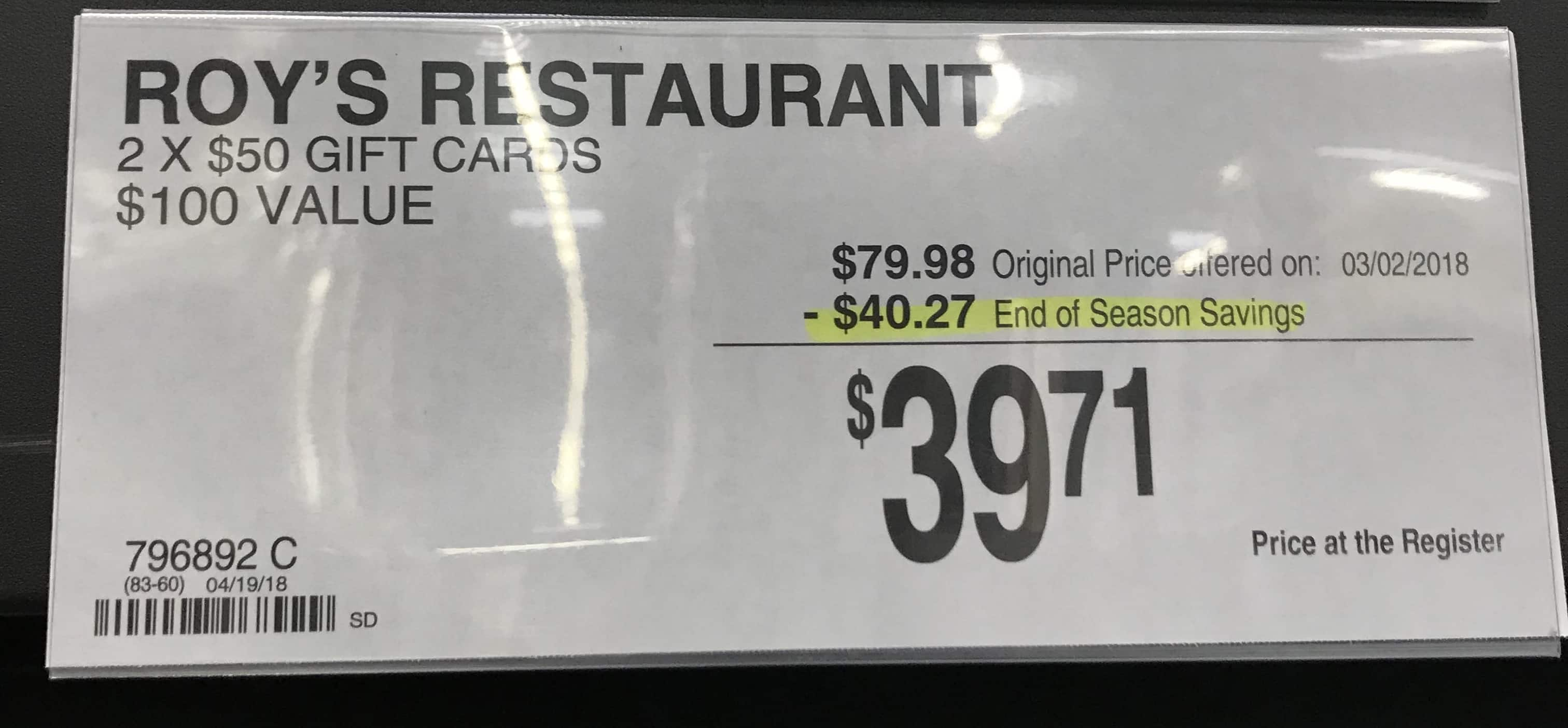 $100 Roy's Hawaiian Fusion Gift Card for $40 - Sam's Club Members In Store Only - YMMV