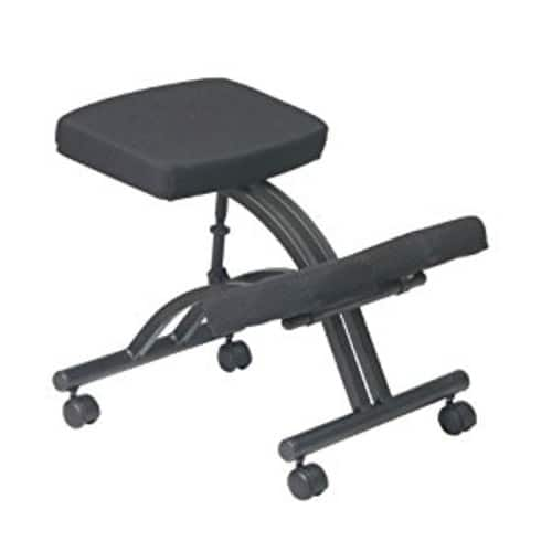 Office Star Ergonomically Designed Knee Chair with Casters, Memory Foam and Black Metal Base Black [Black Metal Base] $18