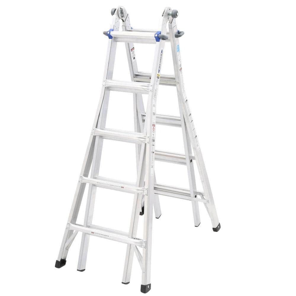 Werner 22 Ft Aluminum Telescoping Multi Position Ladder With 250 Lb