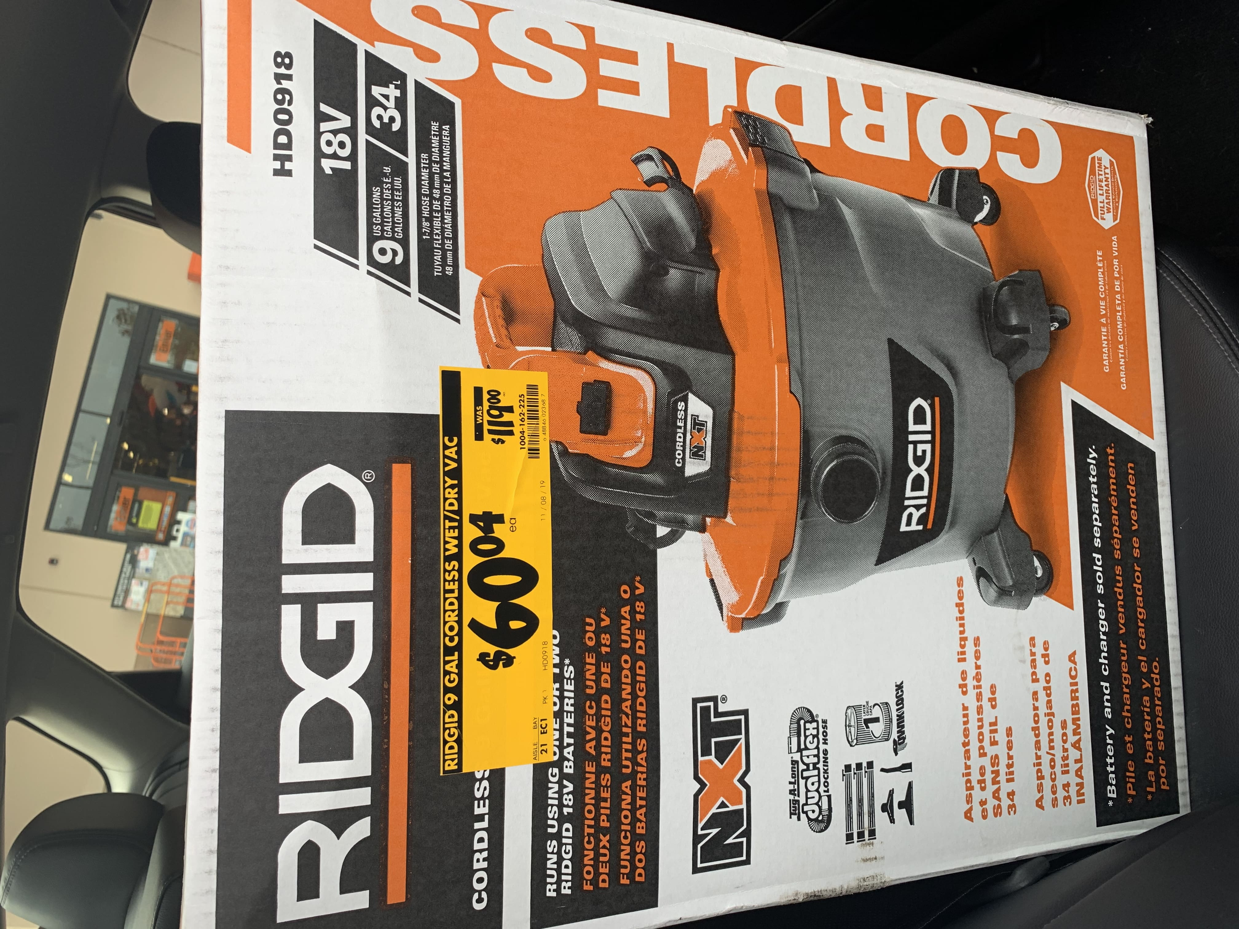 YMMV Ridgid HD0918 18-Volt 9 Gal. Cordless Wet/Dry Shop Vacuum (Tool Only) with Car Nozzle, Utility Nozzle, Wet Nozzle and Extension Wands $60.04