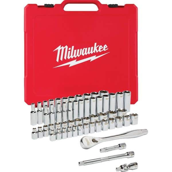 Milwaukee 3/8 in. Drive SAE/Metric Ratchet and Socket Mechanics Tool Set (56-Piece) $99.97 at Home Depot